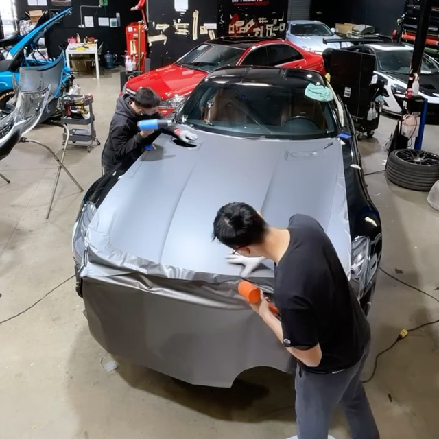 Wrapping the giant SLS hood!
